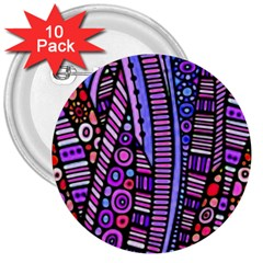 Stained Glass Tribal Pattern 3  Button (10 Pack)