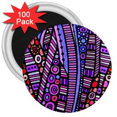 Stained Glass Tribal Pattern 3  Button Magnet (100 Pack)