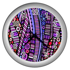 Stained Glass Tribal Pattern Wall Clock (silver)