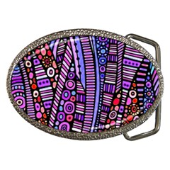 Stained glass tribal pattern Belt Buckle (Oval)