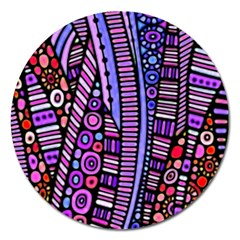 Stained Glass Tribal Pattern Magnet 5  (round)