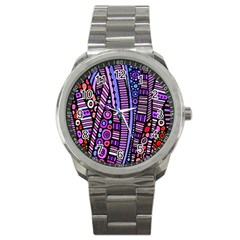 Stained Glass Tribal Pattern Sport Metal Watch
