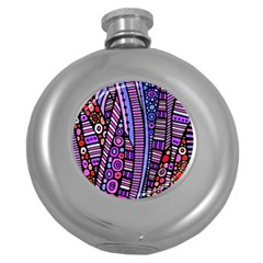 Stained Glass Tribal Pattern Hip Flask (round)