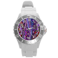 Stained Glass Tribal Pattern Plastic Sport Watch (large)