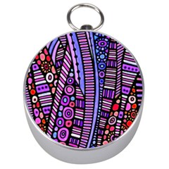 Stained Glass Tribal Pattern Silver Compass