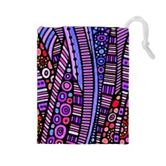 Stained glass tribal pattern Drawstring Pouch (Large)