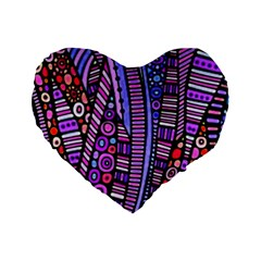 Stained glass tribal pattern Standard 16  Premium Flano Heart Shape Cushion