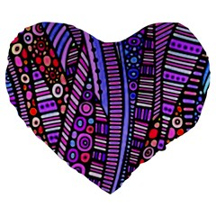 Stained Glass Tribal Pattern Large 19  Premium Flano Heart Shape Cushion