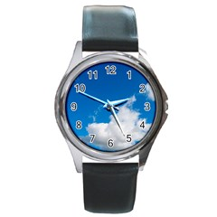 Bright Blue Sky 2 Round Leather Watch (silver Rim)