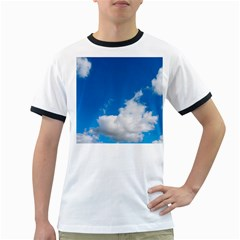 Bright Blue Sky 2 Men s Ringer T-shirt