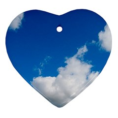 Bright Blue Sky 2 Heart Ornament (two Sides)