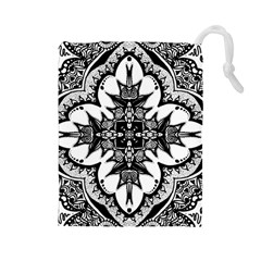 Doodle Cross  Drawstring Pouch (Large)