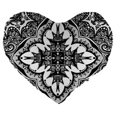 Doodle Cross  Large 19  Premium Flano Heart Shape Cushion