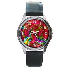 Music Festival Round Leather Watch (silver Rim)