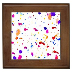 Multicolor Splatter Abstract Print Framed Ceramic Tile