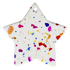 Multicolor Splatter Abstract Print Star Ornament