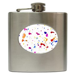 Multicolor Splatter Abstract Print Hip Flask