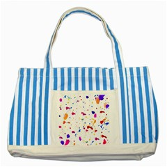 Multicolor Splatter Abstract Print Blue Striped Tote Bag