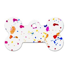 Multicolor Splatter Abstract Print Dog Tag Bone (one Sided)