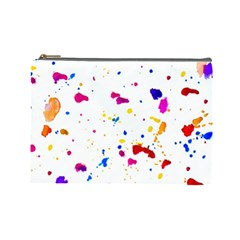 Multicolor Splatter Abstract Print Cosmetic Bag (large)