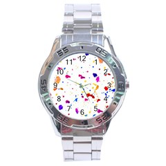 Multicolor Splatter Abstract Print Stainless Steel Watch