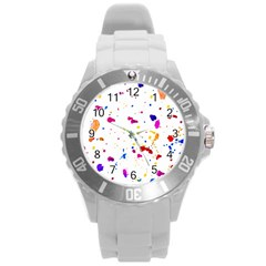 Multicolor Splatter Abstract Print Plastic Sport Watch (large)