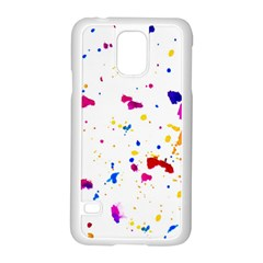 Multicolor Splatter Abstract Print Samsung Galaxy S5 Case (White)