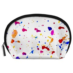 Multicolor Splatter Abstract Print Accessory Pouch (Large)