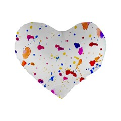 Multicolor Splatter Abstract Print Standard 16  Premium Flano Heart Shape Cushion