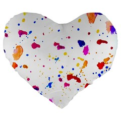Multicolor Splatter Abstract Print Large 19  Premium Flano Heart Shape Cushion