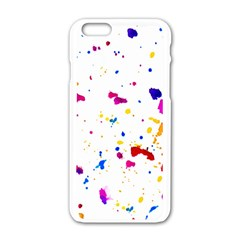 Multicolor Splatter Abstract Print Apple iPhone 6 White Enamel Case