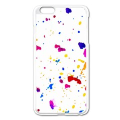 Multicolor Splatter Abstract Print Apple iPhone 6 Plus Enamel White Case