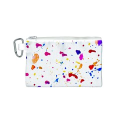 Multicolor Splatter Abstract Print Canvas Cosmetic Bag (Small)