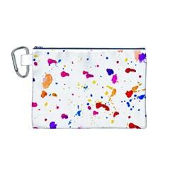 Multicolor Splatter Abstract Print Canvas Cosmetic Bag (Medium)
