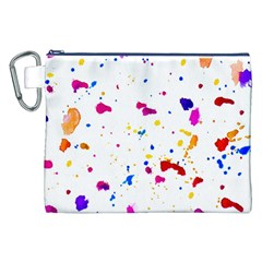 Multicolor Splatter Abstract Print Canvas Cosmetic Bag (XXL)