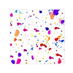 Multicolor Splatter Abstract Print Small Satin Scarf (Square)