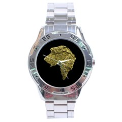 Gold Irish Wolfhound Head Stainless Steel Watch