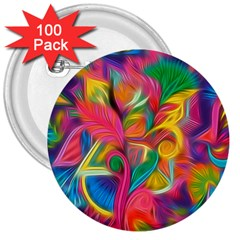 Colorful Floral Abstract Painting 3  Button (100 Pack)