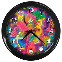 Colorful Floral Abstract Painting Wall Clock (black)