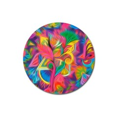 Colorful Floral Abstract Painting Magnet 3  (round)