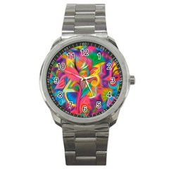 Colorful Floral Abstract Painting Sport Metal Watch
