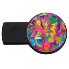 Colorful Floral Abstract Painting 4gb Usb Flash Drive (round)