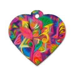 Colorful Floral Abstract Painting Dog Tag Heart (two Sided)