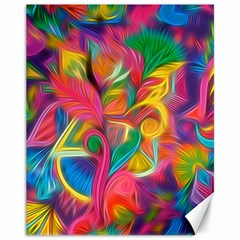 Colorful Floral Abstract Painting Canvas 11  X 14  (unframed)