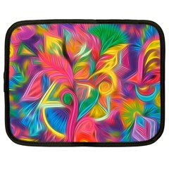 Colorful Floral Abstract Painting Netbook Sleeve (large)