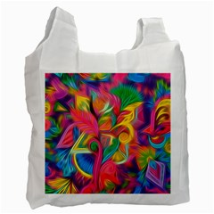 Colorful Floral Abstract Painting White Reusable Bag (two Sides)