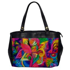Colorful Floral Abstract Painting Oversize Office Handbag (one Side)