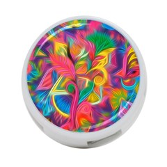Colorful Floral Abstract Painting 4 Port Usb Hub (two Sides)