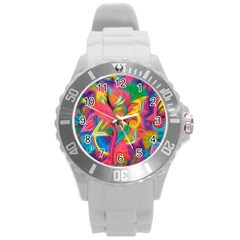 Colorful Floral Abstract Painting Plastic Sport Watch (large)