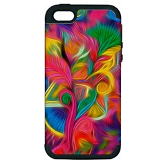 Colorful Floral Abstract Painting Apple Iphone 5 Hardshell Case (pc+silicone)